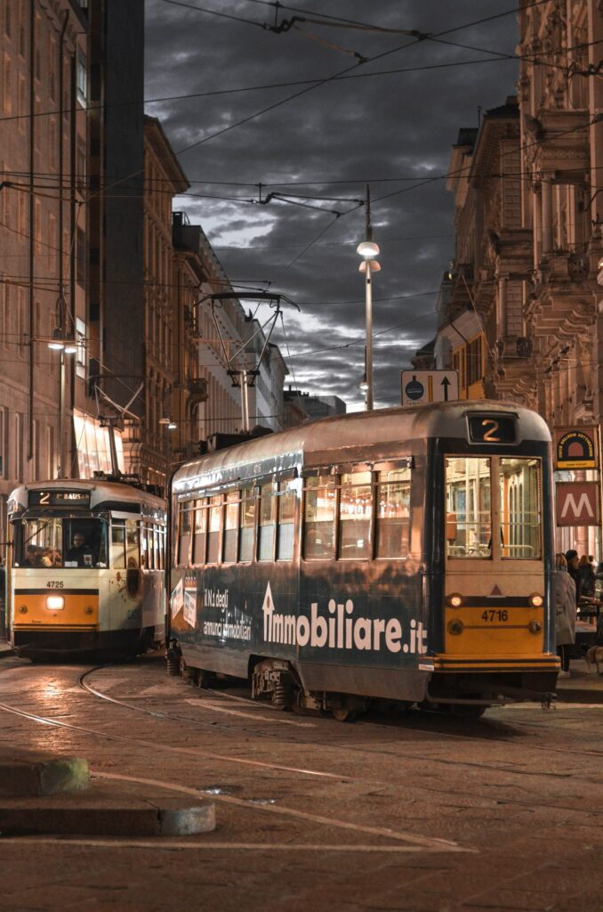Cable car in the streets of Milan, Italy
