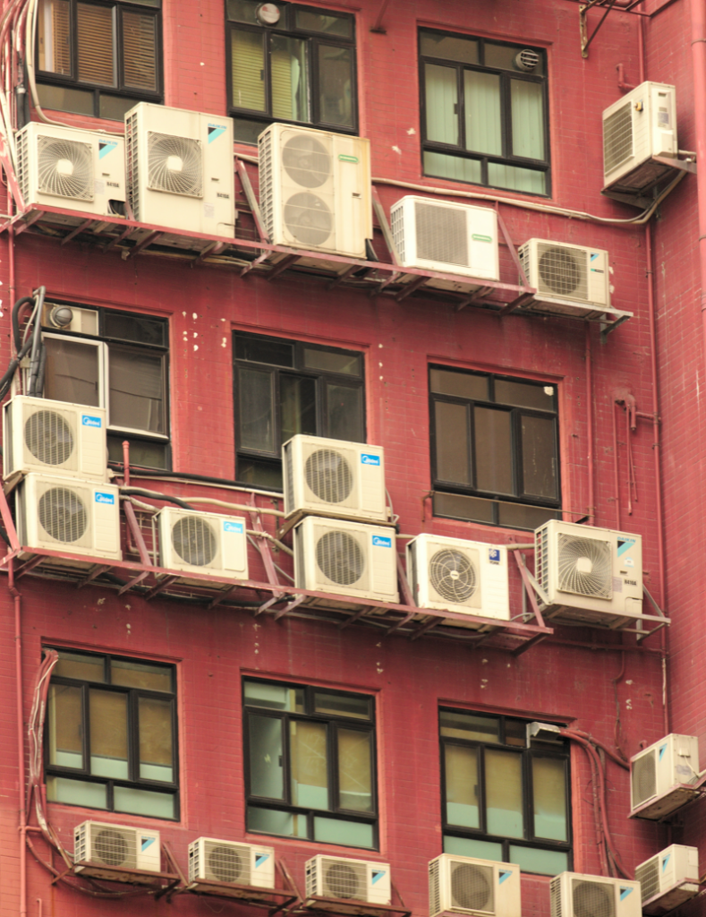 Air conditioning units outside city building