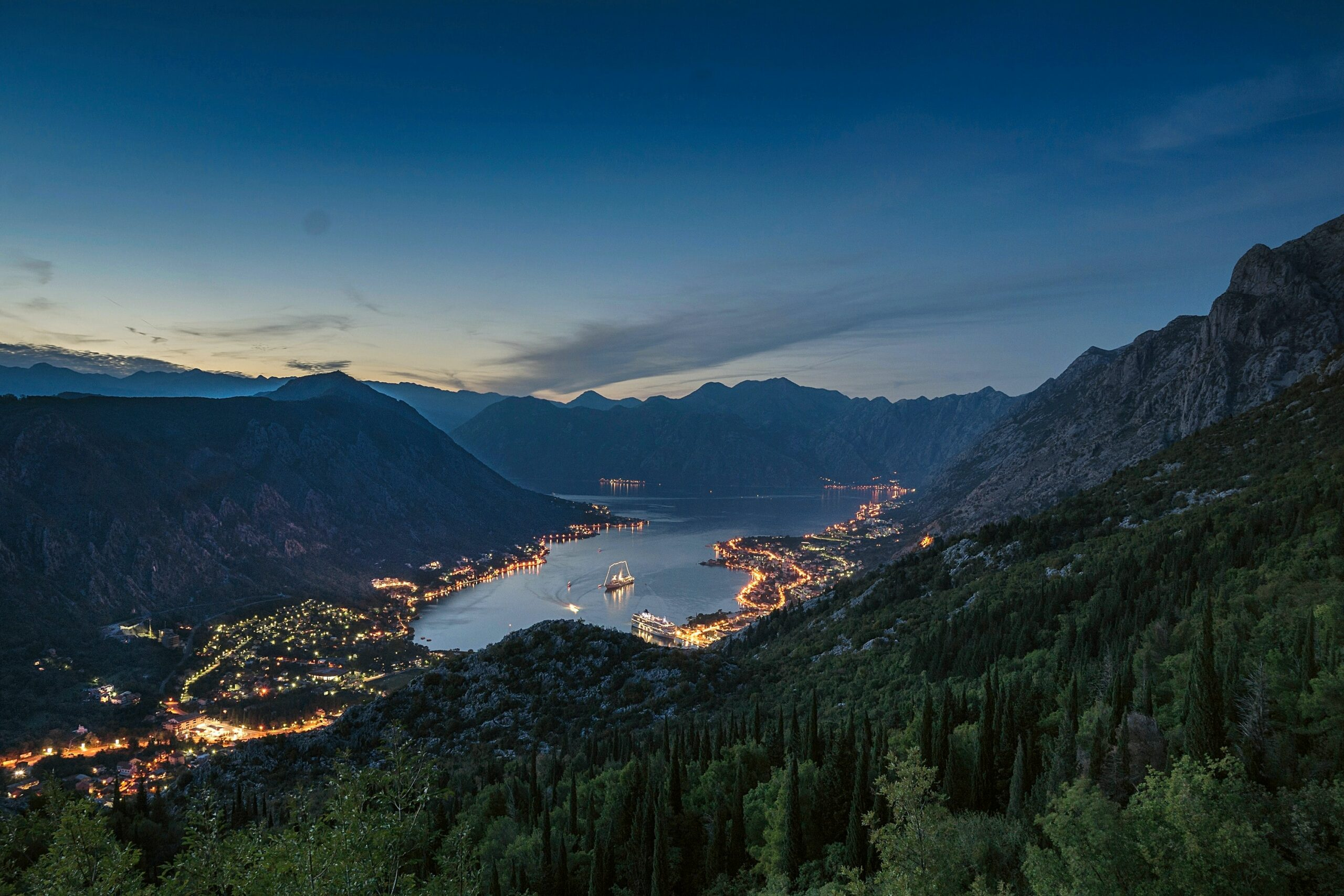 Kotor, Montenegro photographed from above at night