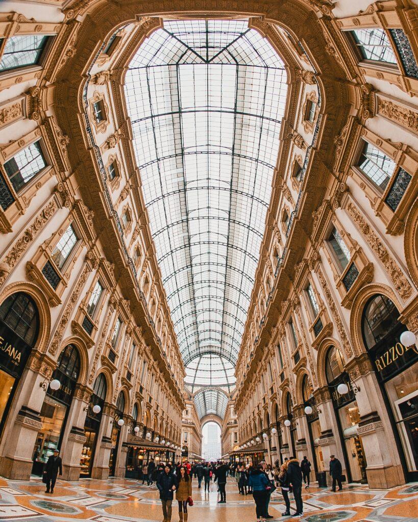 Interior of Galleria Vittorio Emanuele II in Milan, Italy