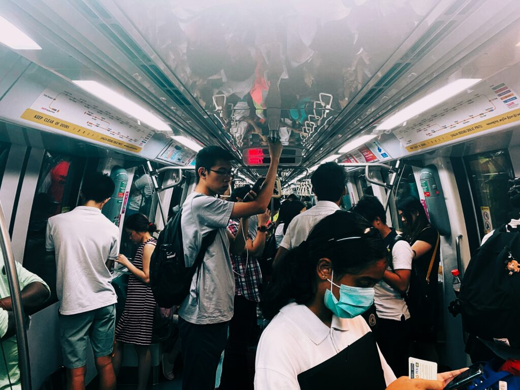 Packed commuter train in Singapore