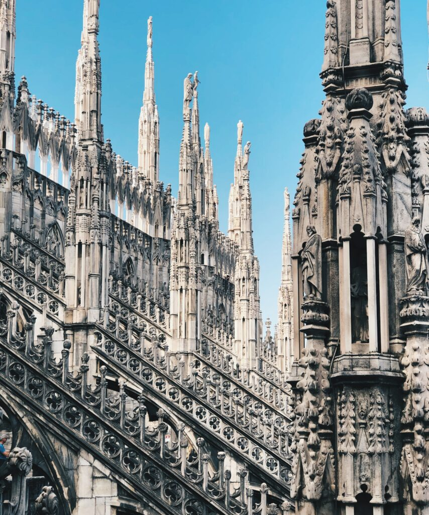 Detail of cathedral in Milan, Italy