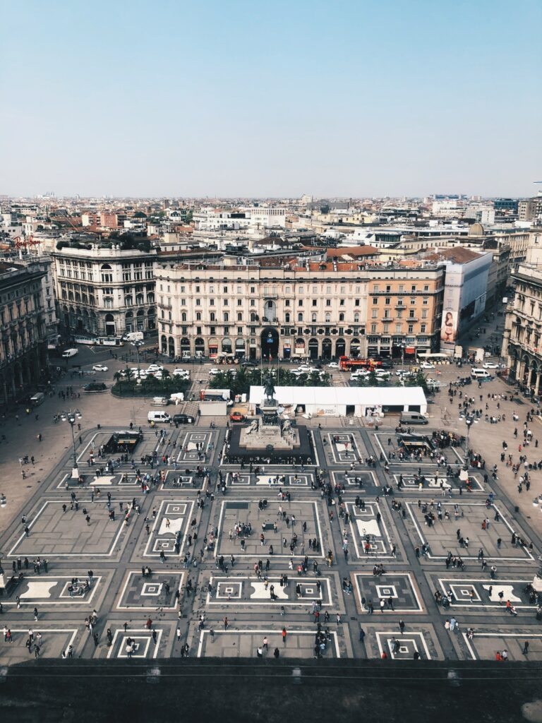 Bustling city square in Milan, Italy