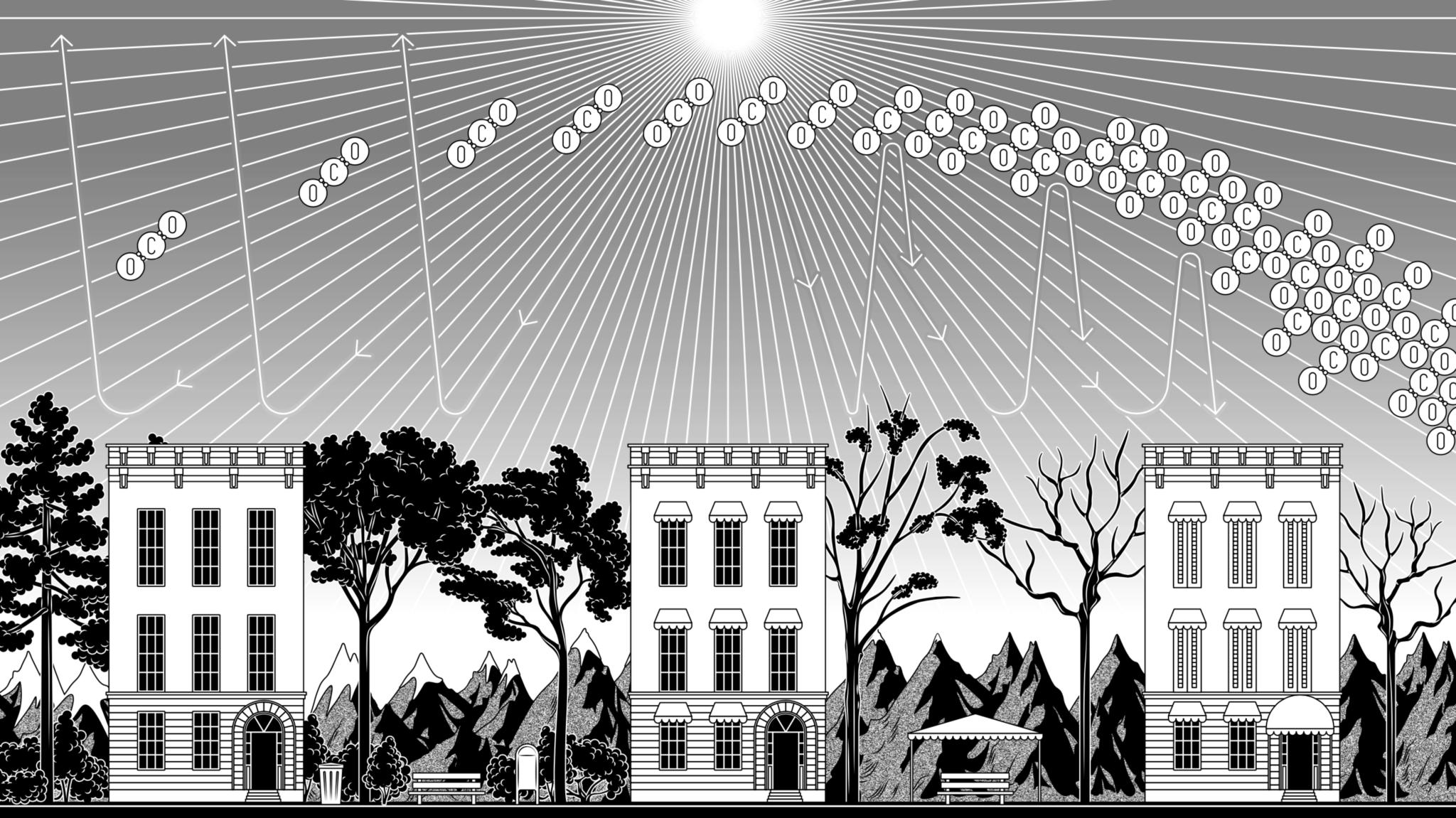 Illustration demonstrating the greenhouse effect